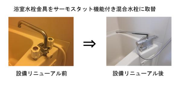 浴室水栓金具をサーモスタット機能付き混合水栓に取替