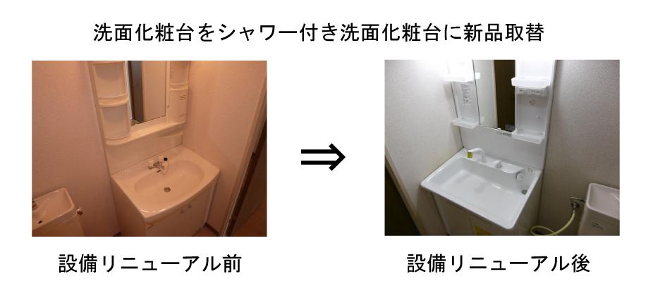 洗面化粧台をシャワー付き洗面化粧台に新品取替