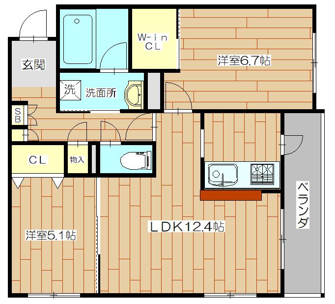 シャーメゾンフォレナ02号室の間取り図