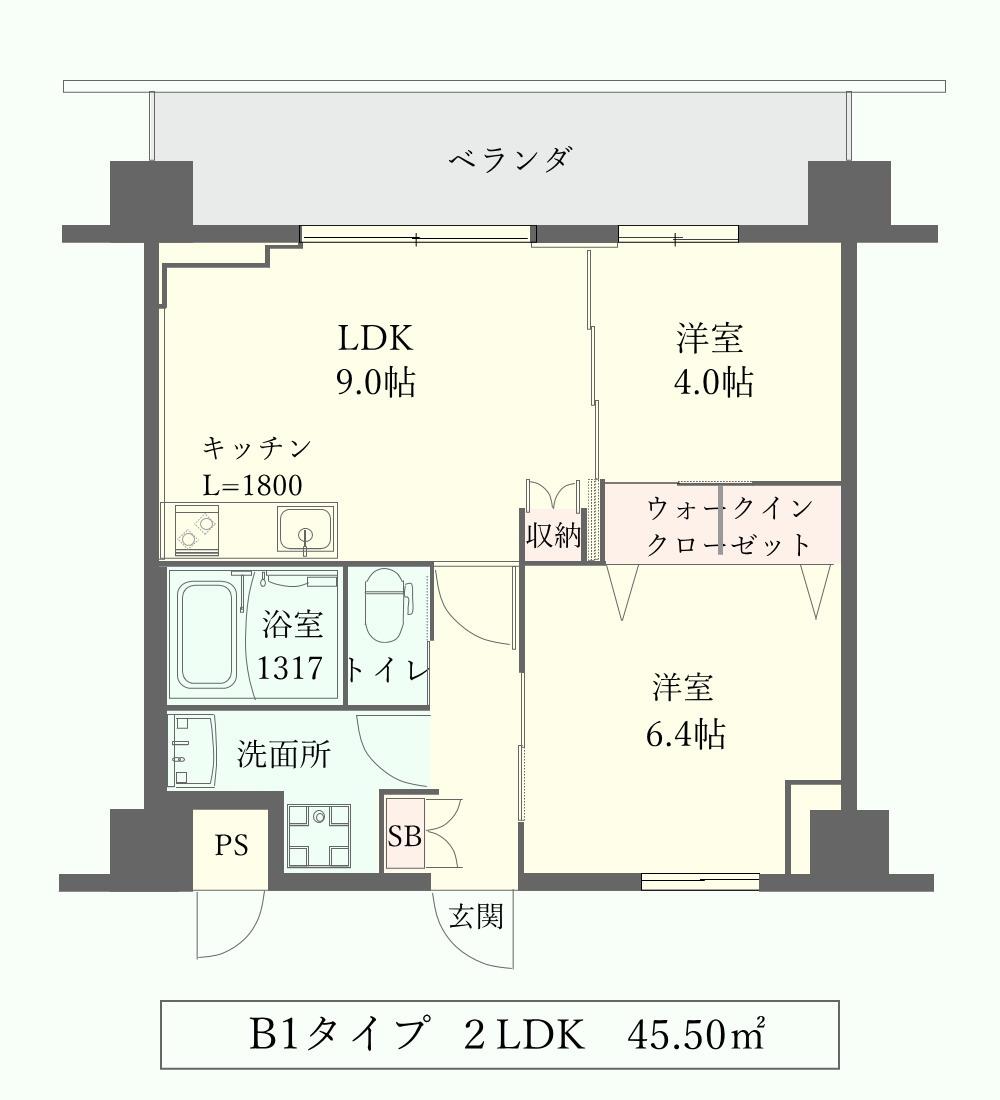LANITOYONAKA B1タイプ間取り図